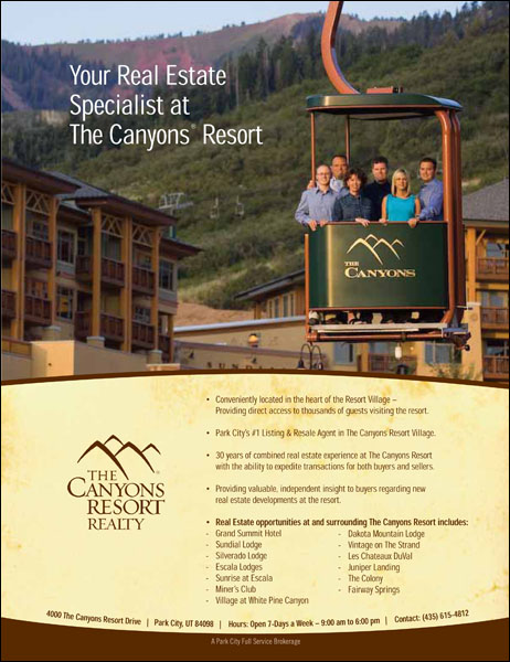 Ad for The Canyons Resort Real Estate - Erik Seo Blog