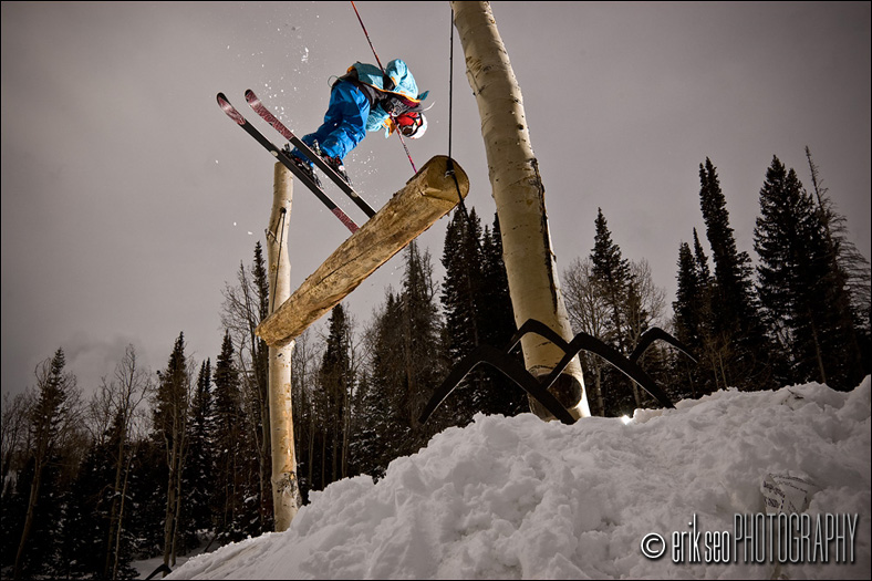 John Symms tapping a log swing at The Canyons Resort in Park Cit