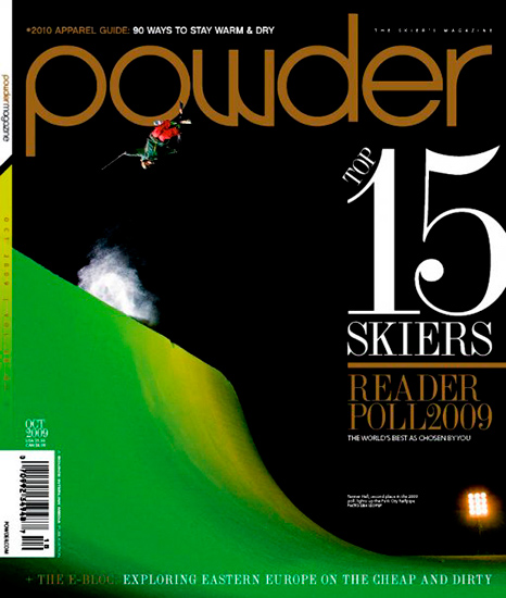 Powder Magazine Cover - October, 2009 - Skier: Tanner Hall - Location: Park City Mountain Resort, UT