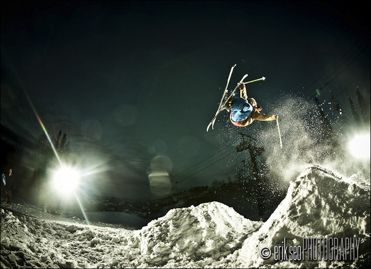 Joss Christiansen rodeo 540'ing a 10 foot backflip jump on a snowmaking pile in Deer Valley, UT