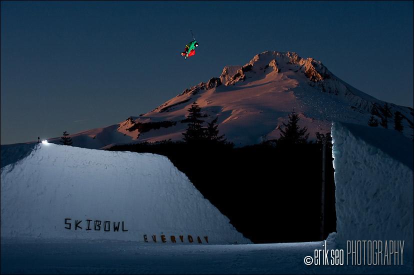 CR Johnson jumping a channel gap jump at Mt. Hood Ski Bowl in Go
