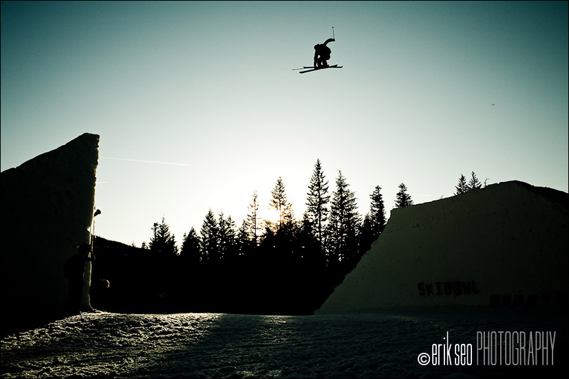 CR Johnson jumping a channel gap jump at Mt. Hood Ski Bowl in Government Camp, OR