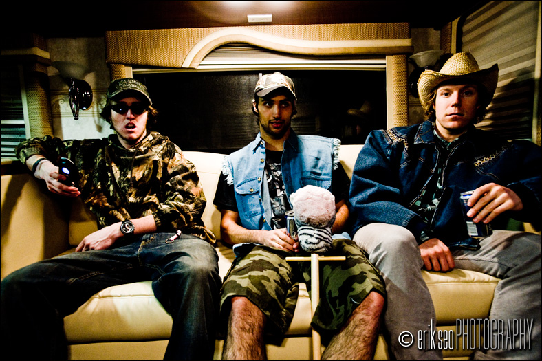 Three guys found their true calling today.  Drinking beer in an RV at a truck stop.