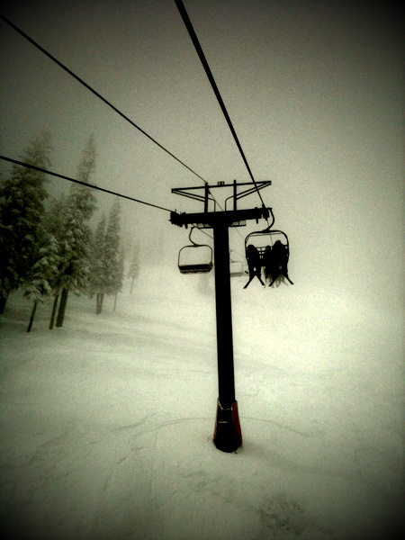 Riding up the Motherload chair at Red Mountain.  All 2,400 feet of continuous vert!