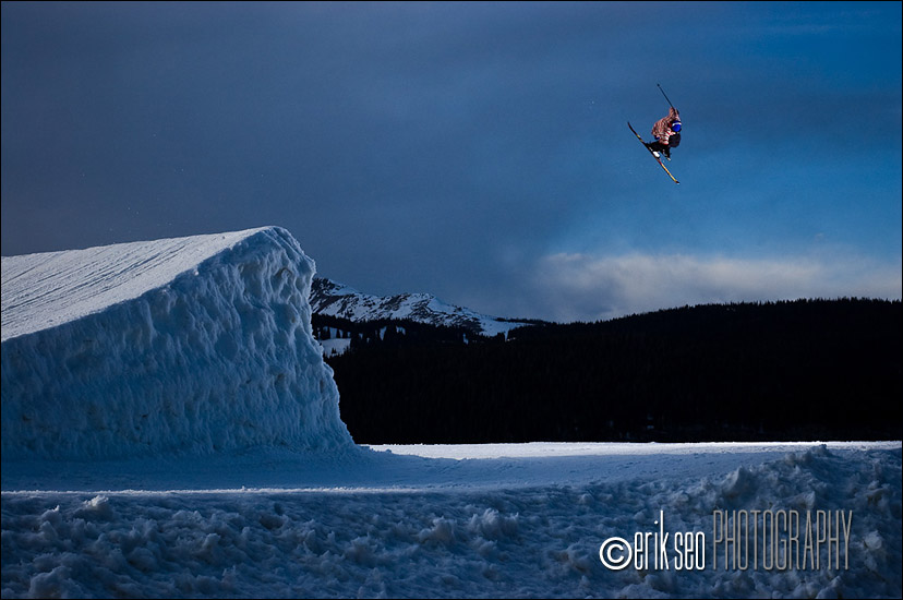 Phil Casabon jumping at the Catalyst terrain park at Copper Mountain, CO - Level  1 Productions
