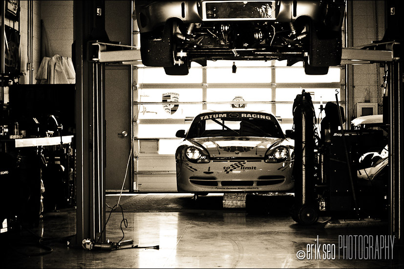 One of the garages at Miller Motorsports Park in Tooele, UT