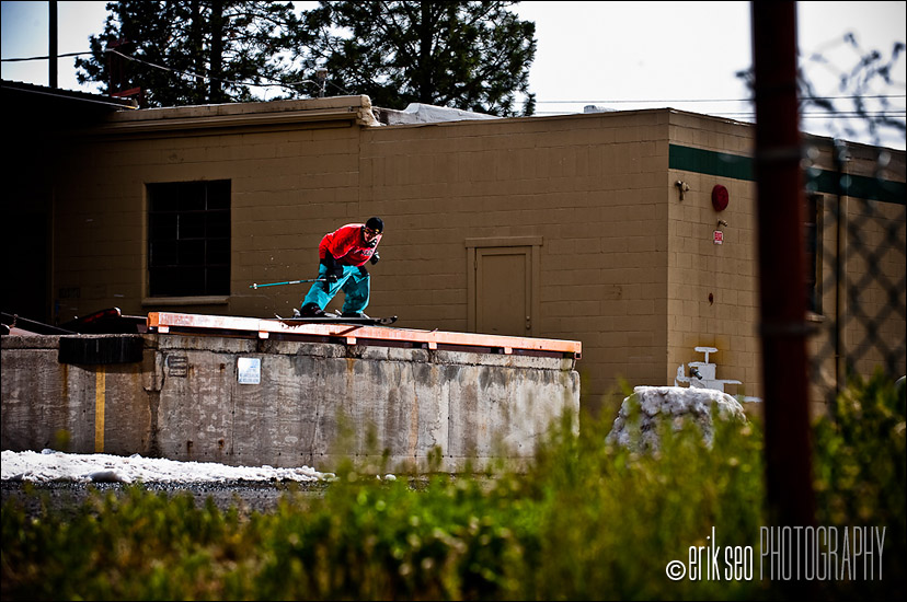 Simon Dumont sliding a loading dock rail in Bend, Oregon - PBP